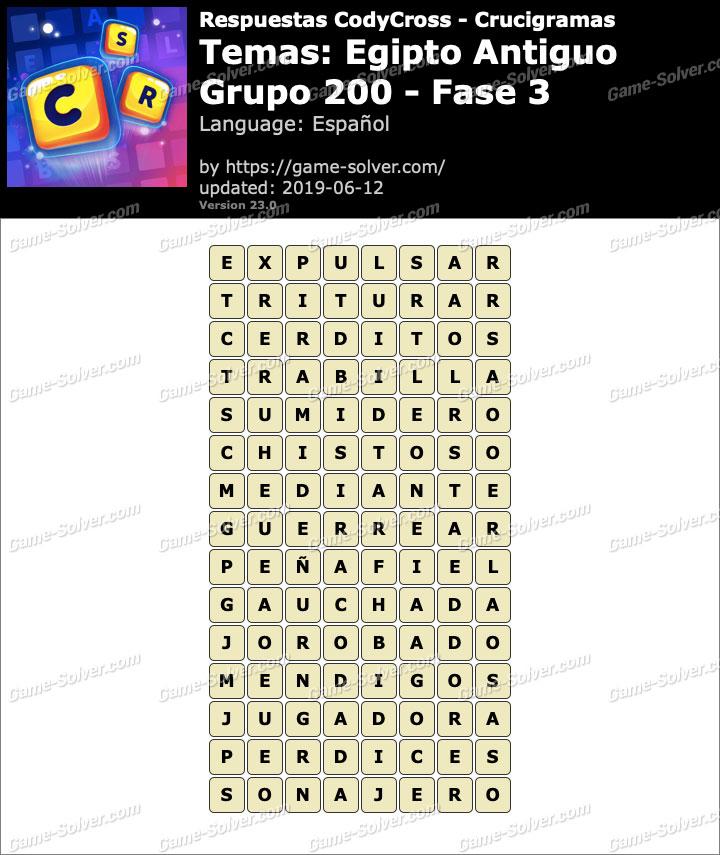 Respuestas CodyCross Egipto Antiguo Grupo 200-Fase 3