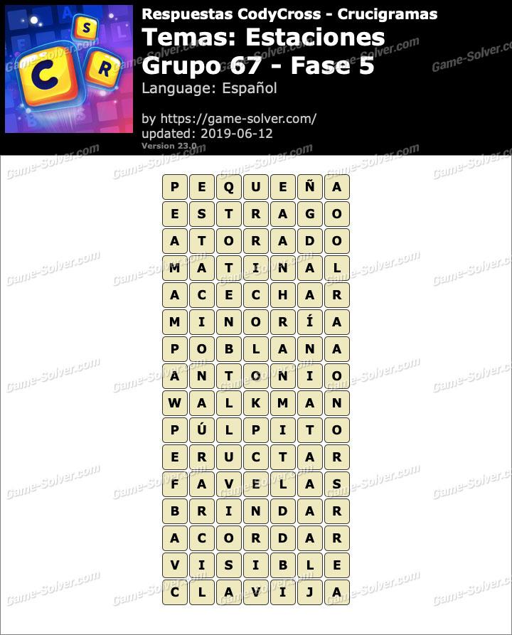 Respuestas CodyCross Estaciones Grupo 67-Fase 5
