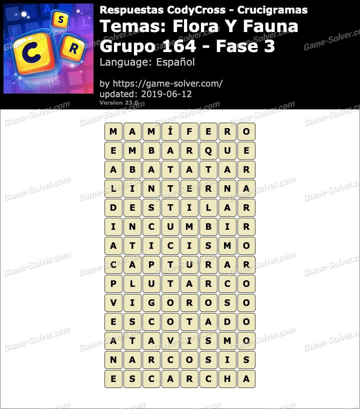 Respuestas CodyCross Flora y Fauna Grupo 164-Fase 3