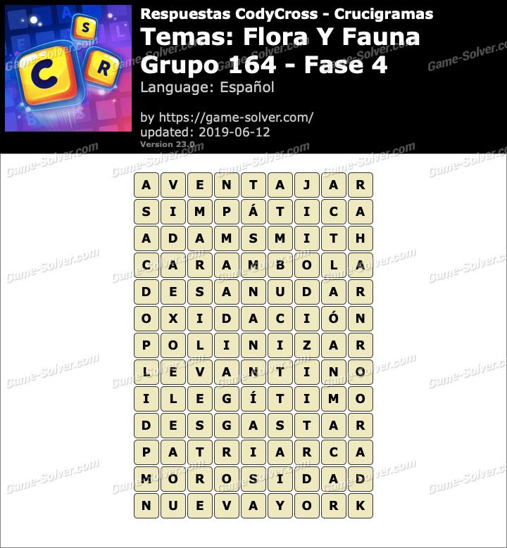 Respuestas CodyCross Flora y Fauna Grupo 164-Fase 4