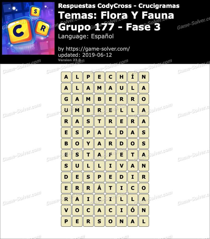 Respuestas CodyCross Flora y Fauna Grupo 177-Fase 3