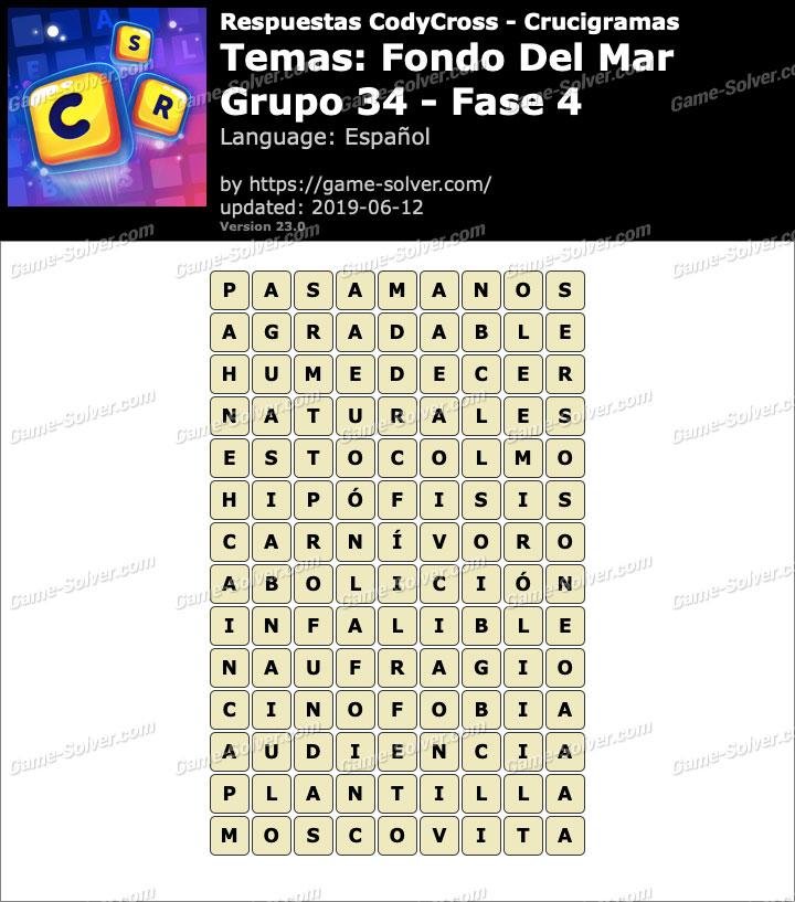 Respuestas CodyCross Fondo del mar Grupo 34-Fase 4
