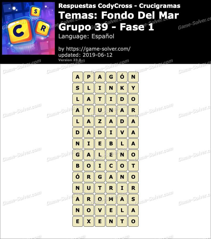Respuestas CodyCross Fondo del mar Grupo 39-Fase 1