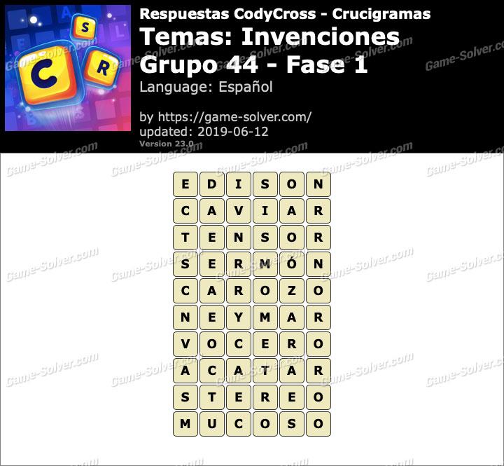 Respuestas CodyCross Invenciones Grupo 44-Fase 1