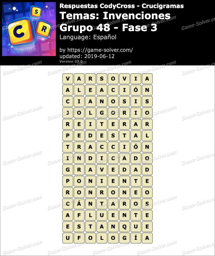 Respuestas CodyCross Invenciones Grupo 48-Fase 3