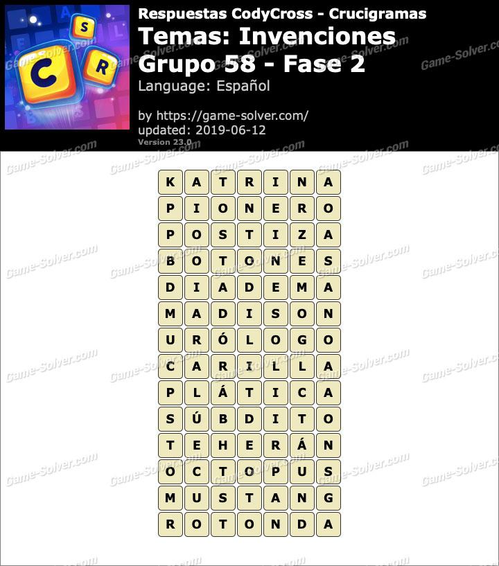 Respuestas CodyCross Invenciones Grupo 58-Fase 2
