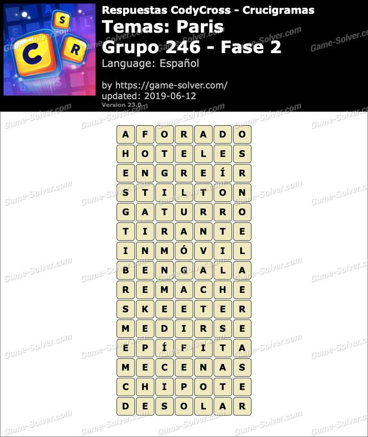 Respuestas CodyCross Paris Grupo 246-Fase 2