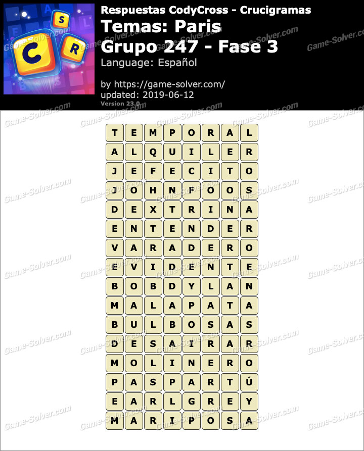Respuestas CodyCross Paris Grupo 247-Fase 3