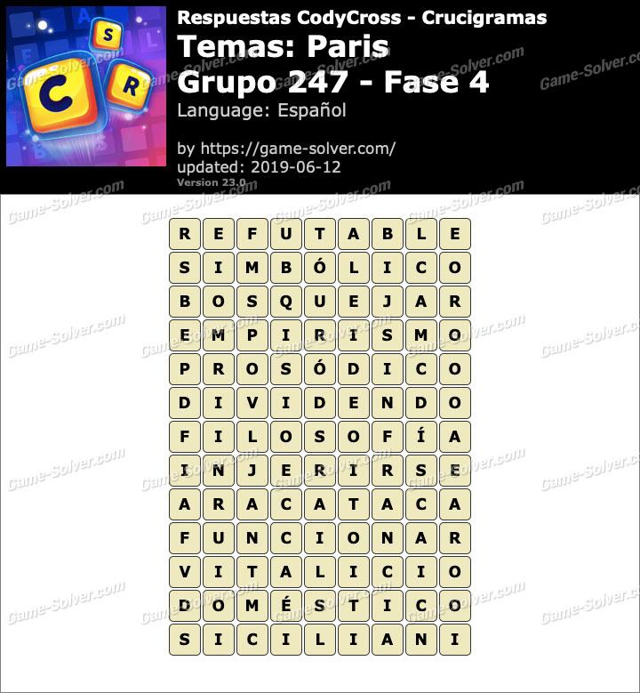 Respuestas CodyCross Paris Grupo 247-Fase 4