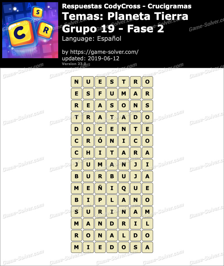 Respuestas CodyCross Planeta Tierra Grupo 19-Fase 2