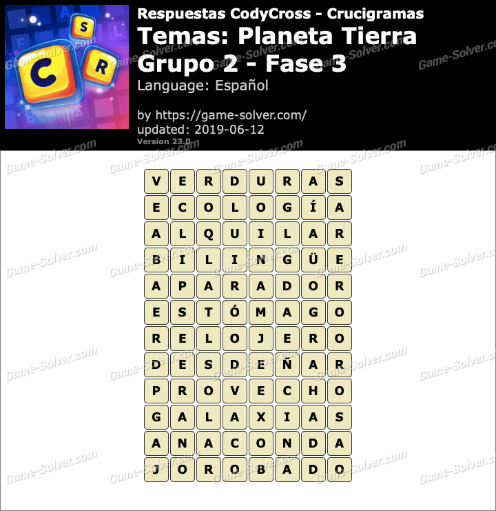 Respuestas CodyCross Planeta Tierra Grupo 2-Fase 3