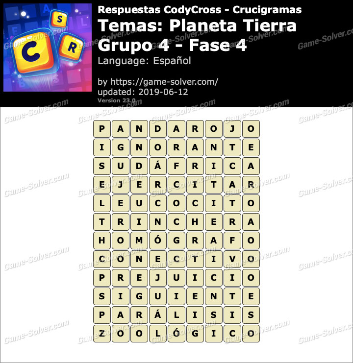 Respuestas CodyCross Planeta Tierra Grupo 4-Fase 4