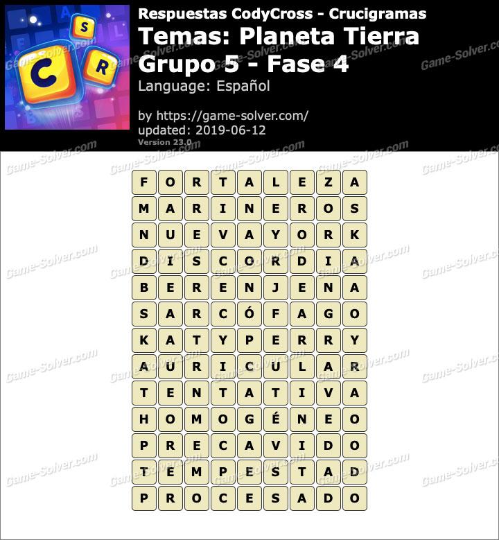 Respuestas CodyCross Planeta Tierra Grupo 5-Fase 4