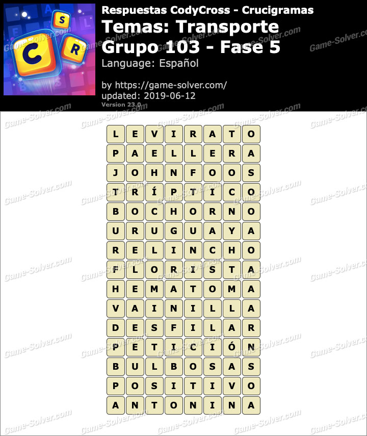 Respuestas CodyCross Transporte Grupo 103-Fase 5