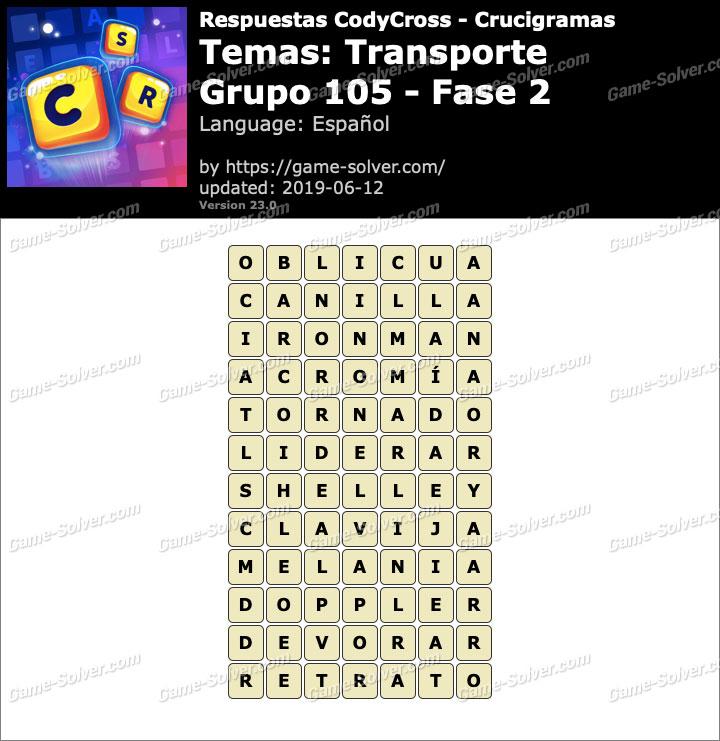 Respuestas CodyCross Transporte Grupo 105-Fase 2