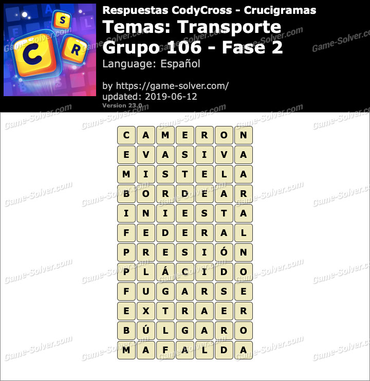 Respuestas CodyCross Transporte Grupo 106-Fase 2
