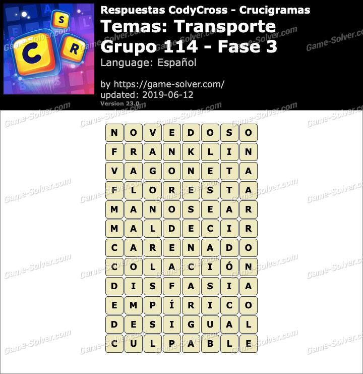 Respuestas CodyCross Transporte Grupo 114-Fase 3