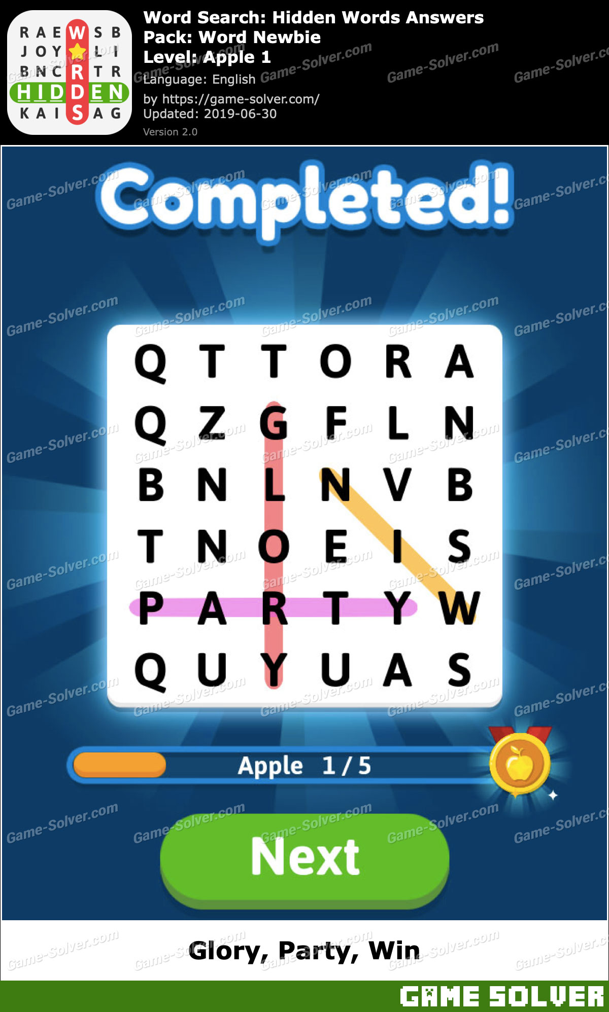Word Search Hidden Words Word Newbie-Apple 1 Answers