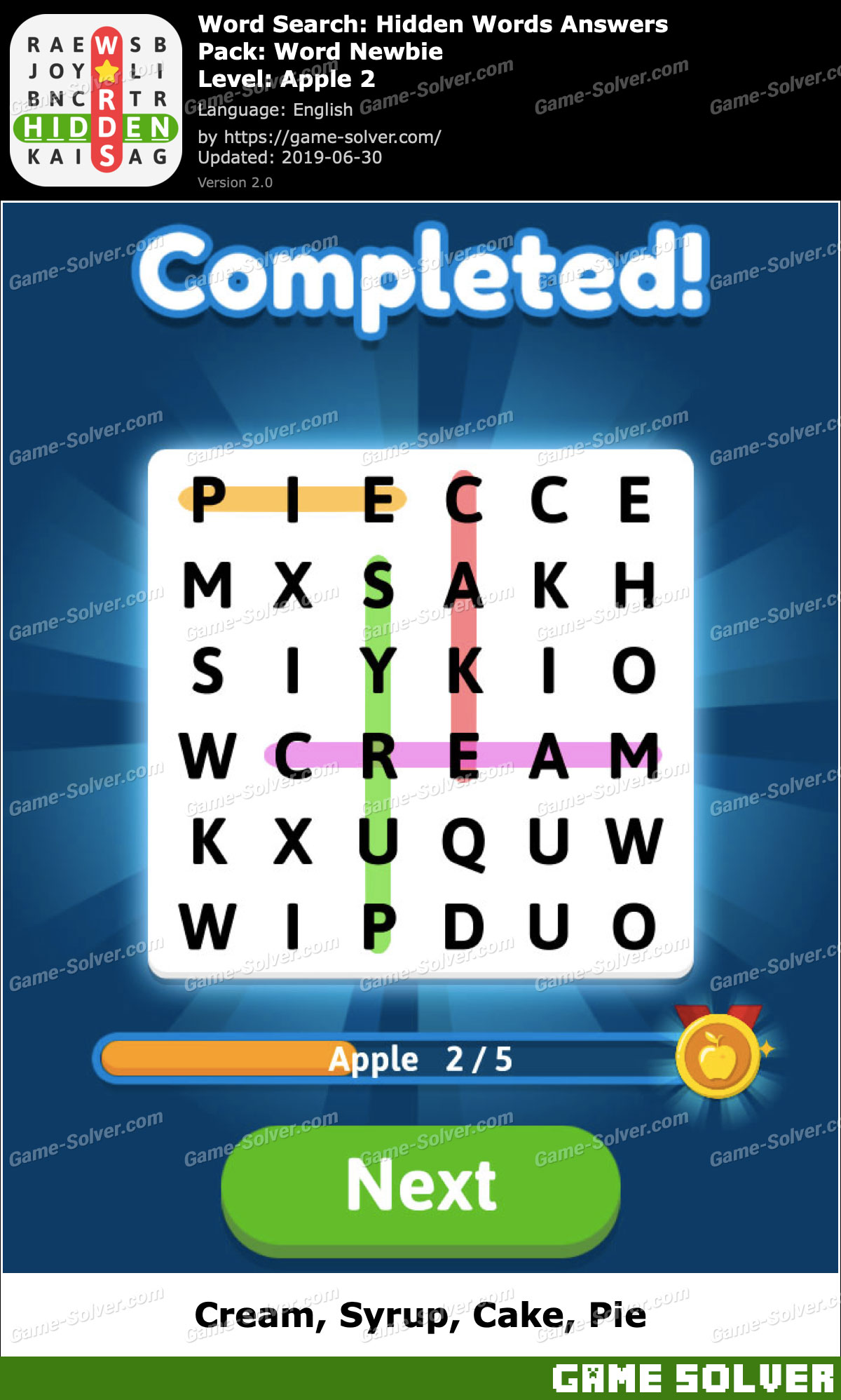 Word Search Hidden Words Word Newbie-Apple 2 Answers